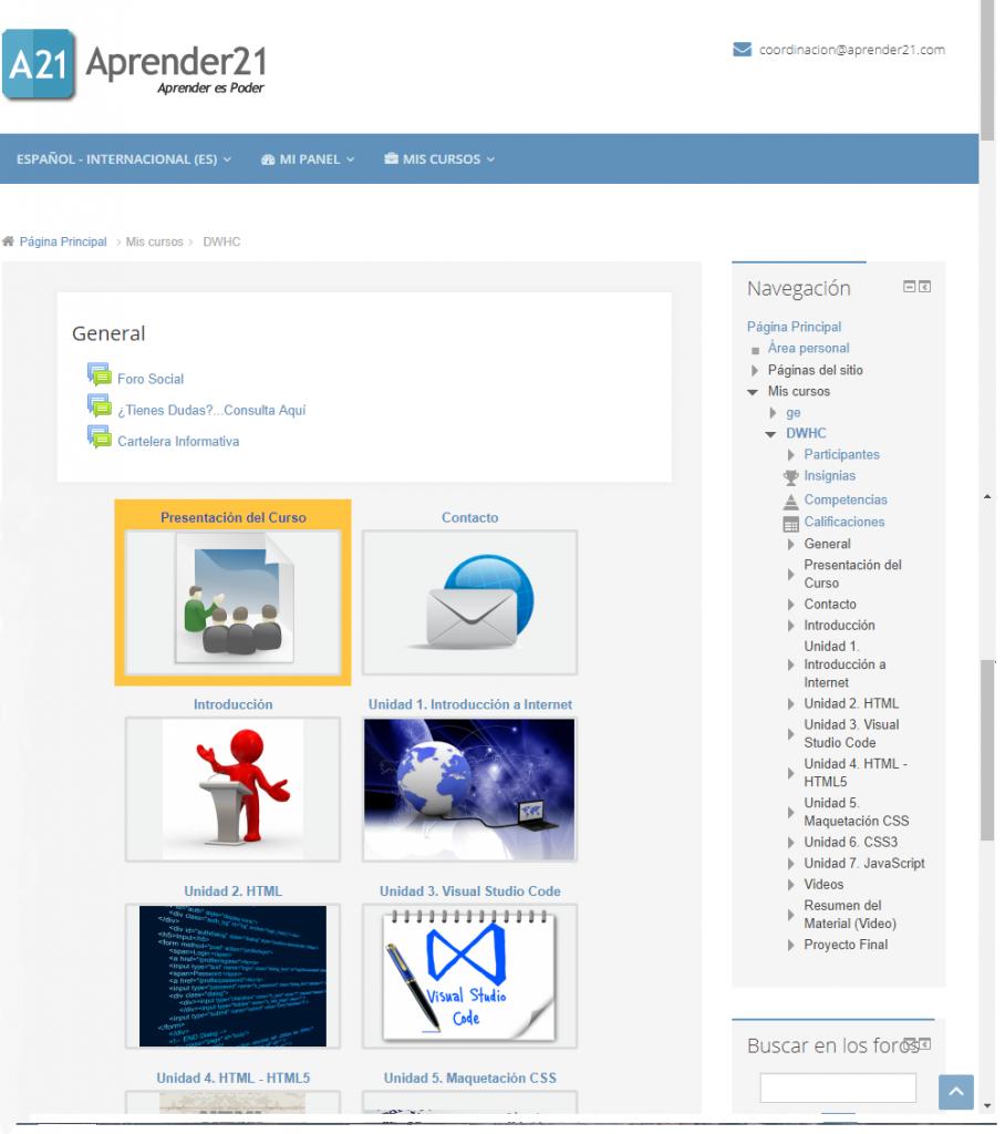 Diagrama de un curso en un aula virtual en dónde se muestra su organización en unidades