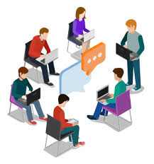 Personas con su computadora discutiendo alrededor de un mismo tema en un foro online
